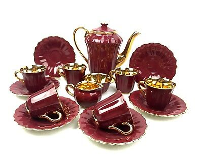 Vintage Wade English Tea Set / Coffee For 6 People Burgundy & Gilt Lustre Retro