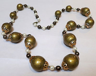 60s -70s Jewelry – Necklaces, Earrings, Rings, Bracelets STUNNING VINTAGE RETRO GOLD BEAD NECKLACE 1960s $7.42 AT vintagedancer.com