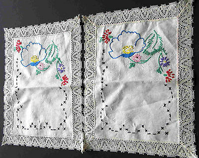 """2 Hand Embroidered Blue Floral Dresser Scarf Doilies 8.5x11"""" lace trim FREE SH"""
