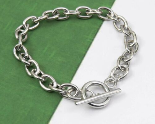 """3 Silver Charm Bracelet Blanks, Toggle Clasp 7-7/8"""", Large Links for Beginners"""