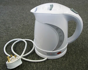 Electric Low Watt Cordless Swiss Luxx Kettle Caravan Motorhome White 1.2 Litre