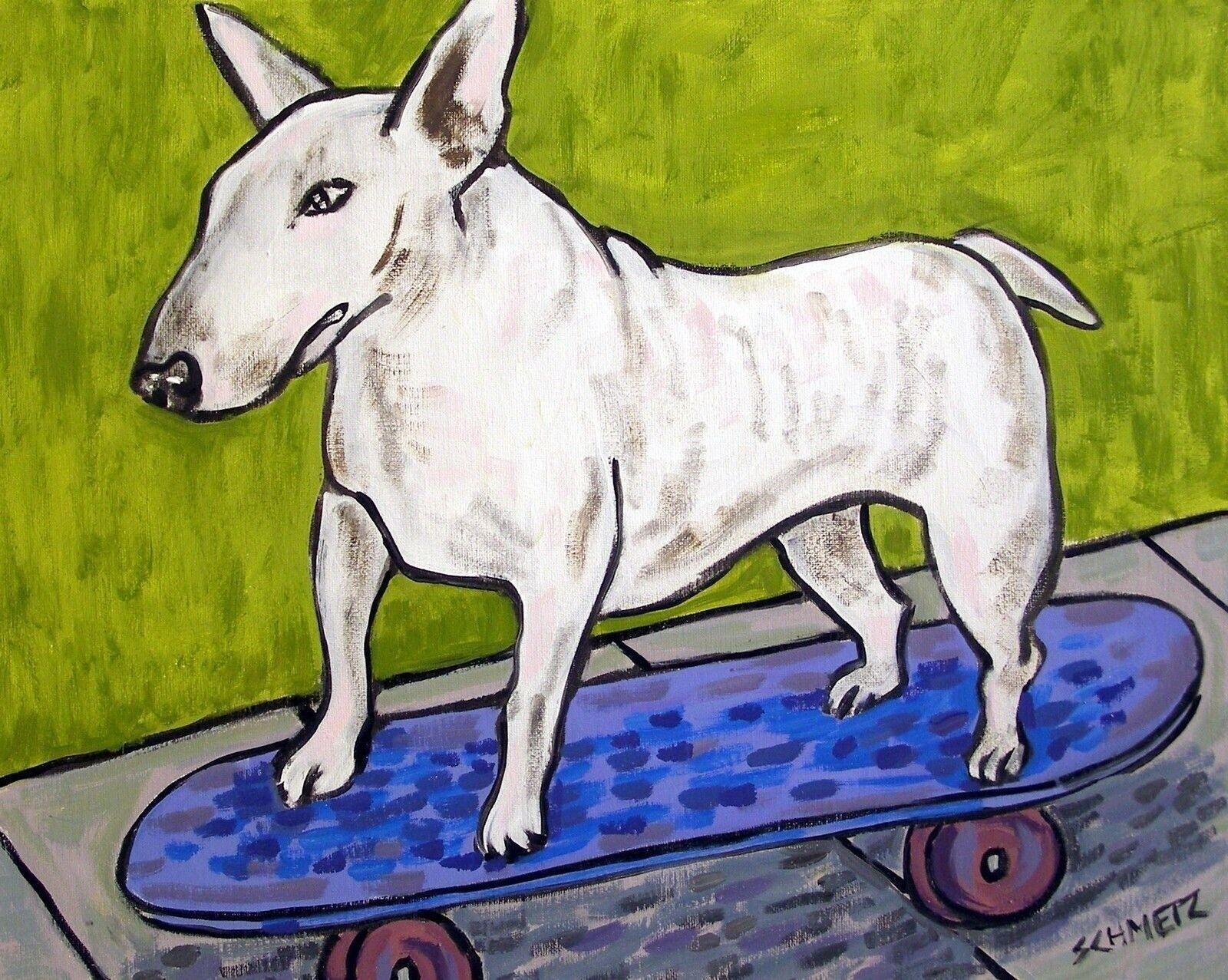 WEST highland terrier white terrier skate boarding 13x19  art print animal
