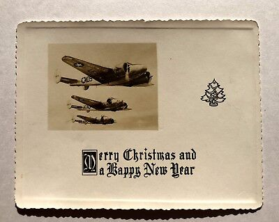 WWII Merry Christmas and Happy New Year Card w/ Planes on