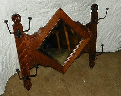 Quartersawn Oak Carved Hall Tree Mirror  (MR32)