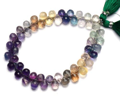 """Natural Gemstone Rainbow Fluorite Teardrop Briolette Beads 8x6mm Size 8"""" Strand"""