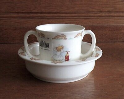 Royal Doulton BUNNYKINS 2 Piece Child's Set Porridge Bowl and 2 Handled Cup NWT