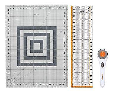 Sewing Quilt Rotary Cutting Set. Fabric Tool Cutter Cutting Mat Craft Ruler...