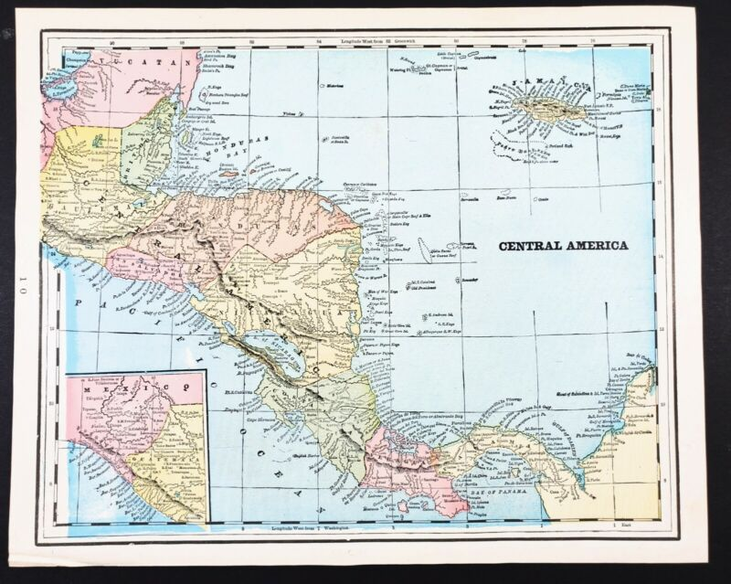 1896 Central America Map Jamaica Nicaragua Panama Honduras ORIGINAL EXRARE
