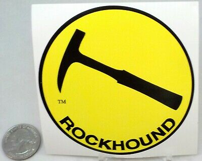 """ROCKHOUND Sticker for Your Car 3.4 """" Round Bright Yellow Free Shipping #2183"""