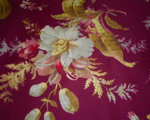 Antique French Orchid Floral Cotton Fabric ~ Burgundy Pink Olive