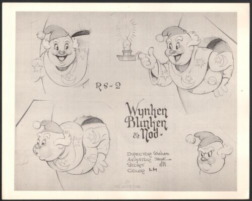 1938 Silly Symphonies Wynken Walt Disney production animation model sheet