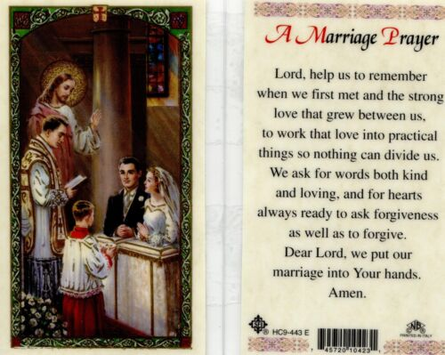 A Marriage Prayer Catholic Laminated Holy Card Getting Married Wedding Occasions