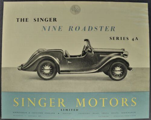 1949-1950 Singer Nine Roadster Sales Brochure Folder Series 4A Nice Original
