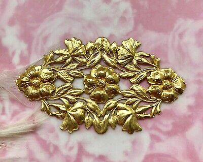 BRASS Oval Plaque Art Nouveau Leaf & Flowers Stamping ~ Jewelry Findings (FC-3)