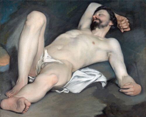 "Guido Cagnacci, Reclining Male Nude, 1640, antique decor, 20""x16"" Ar Print"