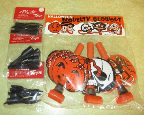 Vintage Halloween Blowout Noisemakers & Witch Fingernails - NIP