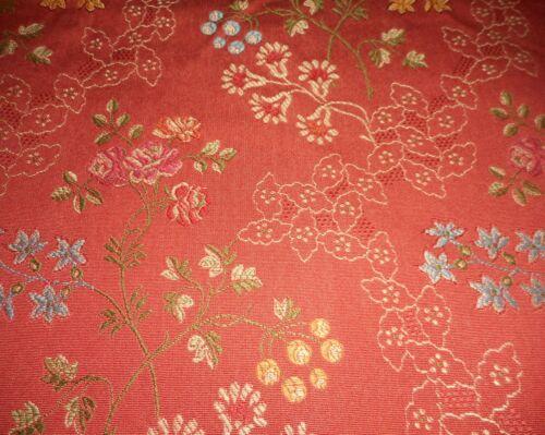 Vintage Brocade Jacquard Floral Furnishings Fabric ~ Deep Coral Red