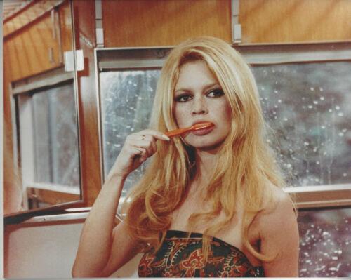 Beautiful Actress Bridget Bardot  8x10 color  photo brushing her teeth