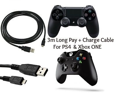 3M Long Play + Charging Charger Lead Cable FIT PS4 + Xbox One Controller GamePad