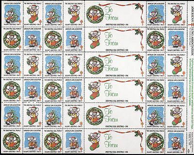 1986 USA Christmas Seal (Mouse) . Sheet of 36 + 6 labels - Mint Never Hinged