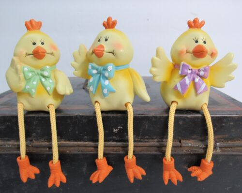 Set of 3 Easter Yellow Chick Resin Shelf Sitters Decor Spring Gift
