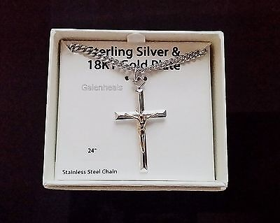 """Men's 925 Sterling Silver & 18k Gold Cross Pendant With 24"""" Necklace Chain-NEW"""