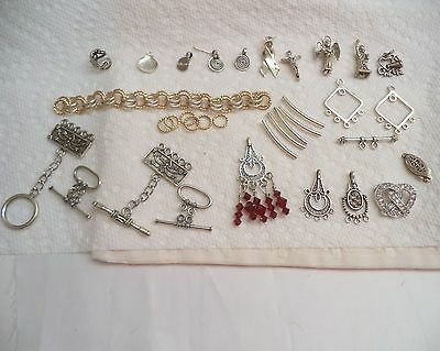 Sterling Silver Jewelry Making Lot, Supplies, Findings, Charms
