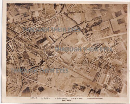 Original WW1 RAF bombing  Aerial  photo Tournai France 1918 103 SQD WWI