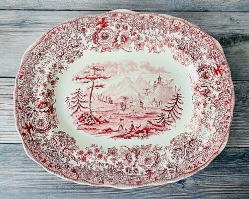 Antique Ridgeways Tyrolean Red/Pink Scenic Transferware Oval Platter England