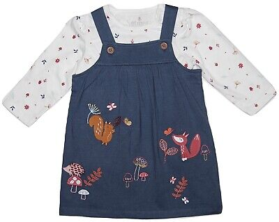 Baby Girl Pinafore Dress & Long Sleeved Top Outfit Set Squirrels Animals