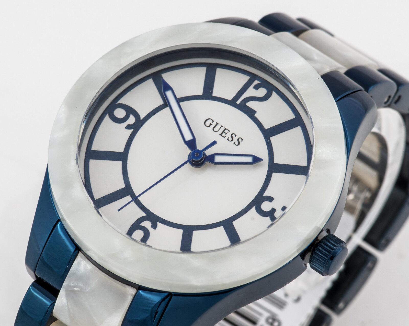 GUESS Damen Uhr Edelstahl blau weiß Keramik perlmutt NEU W0074L3 G6