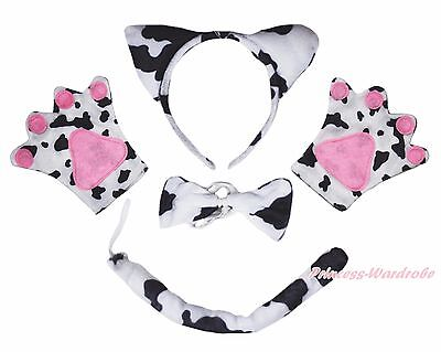 Female Cow Halloween Costume (Halloween Diary Cattle Milk Cow Paw Glove Ear Headband Bow Tail 4P Party)
