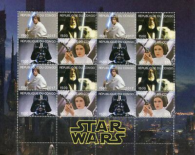 Congo 2017 CTO Star Wars Princess Leia Darth Vader Luke Skywalker 16v M/S Stamps