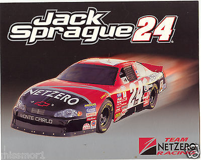 Jack Sprague 2001 Netzero Chevy Racing Promotional Picture Signature Card  24