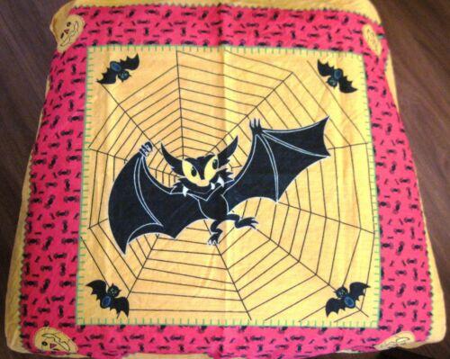 "Fantastic Vintage ""Halloween Scarf"" w/ Large Bat Caught In Spider Web    *"