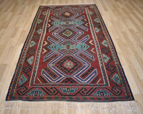 Gorgeous Vintage Caucasian Kazak Handmade Kilim Geometric 6Ftx10Ft Free Shipping