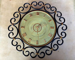 HEAVY Vintage Danish Black Wrought Iron Wall Clock JUNGHANS QUARTZ Works 15.5 IN