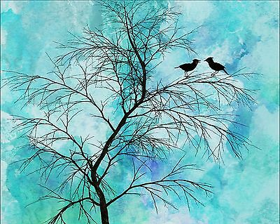 Teal Black Blue Home Decor Birds Tree Silhouette Art Photo Print Matted Picture