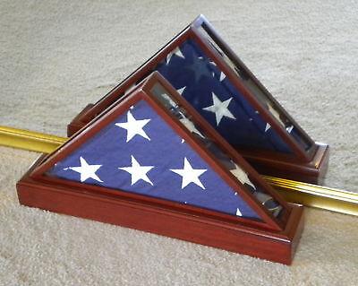 QUAD-VIEW VETERAN MEMORIAL FLAG DISPLAY CASE 5X9 MILITARY FUNERAL BURIAL US MADE (Us Flag Display Case)