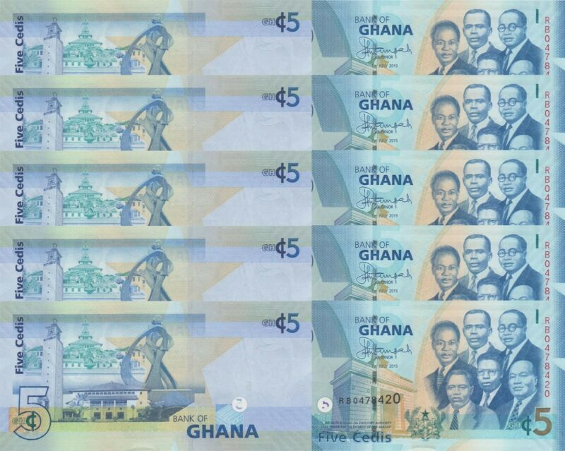 LOT, Ghana 5 Cedis p38f (01.7.2015) x 5 PCS UNC