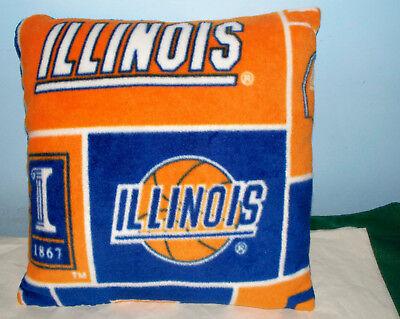 NEW UNIVERSITY OF ILLINOIS FLEECE PILLOW BIG TEN FIGHTING ILLINI ORANGE - Illinois Fighting Illini Pillow