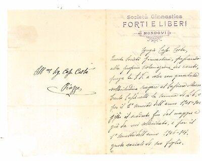 SOCIETA' GINNASTICA FORTI E LIBERI MONDOVI' CUNEO LETTERA 1906 SCHERMA PIEMONTE