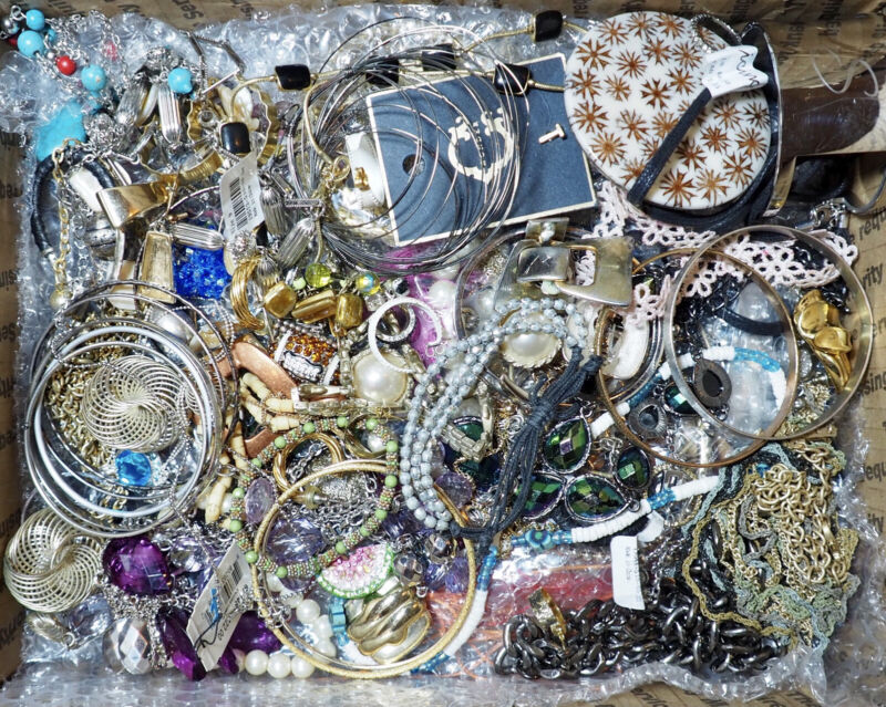 Vintage to Mod Jewelry Lot Estate All Wearable Resell 2-3 lbs Small FR Box Vtg