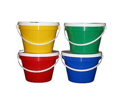 4-1 Gallon Buckets Lids 1 Red Yellow Green Blue Pail Lead Free Mfg USA Lead Free