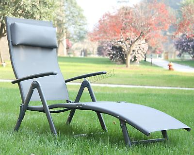 FoxHunter Outdoor Folding Sun Recliner Patio Garden Pool Seat Lounger SR02 Black