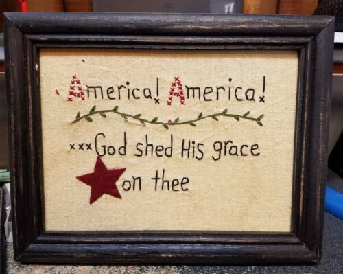 VINTAGE Embroidery Americana Picture Framed