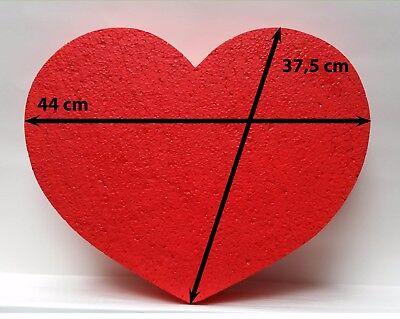 Styropor Herz 1 Stück rot 44 x 37,5 Höhe 5 cm Hochzeit Geschenkidee Wand gefärbt