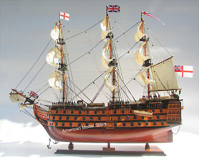 "HMS Victory Painted Museum Quality Tall Ship Model 37"" British Royal Navy 1774"