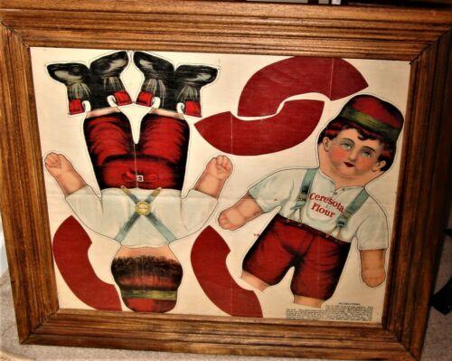 Antique Original Early 1900s Framed *Uncut Ceresota Flour Boy* Advertising Doll