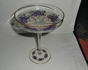 Superb 19th Century Hand Enamelled Glass Tazza 20cm tall/15.5cm diameter